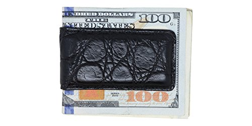 (Black Matte Genuine Alligator Money Clip - Magnetic - American Factory Direct - Strong Shielded Magnets - Money Holder - Made in USA by Real Leather Creations ST)