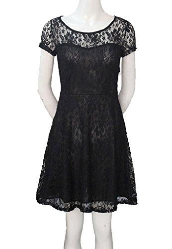 OYMMENEY Schwarz, EU XS (Label S) Damen Kleid mit Spitze Sommerkleid shirt tunika tunikakleid Bluse Oberteil Damenbluse Kleider Top Kurz Knielang Fruehling Herbst