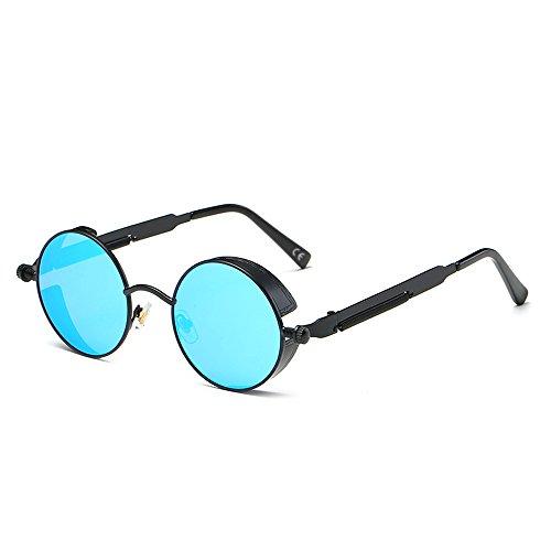 polarisées Lunettes Amztm bleue homme Petit Rond réfléchissant et femme glace Noir soleil Miroir lentille de pour v8XUqXd