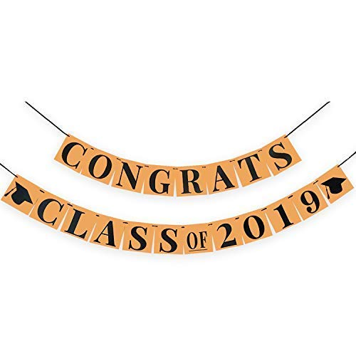 - Congrats Class of 2019 Banner - Classy Graduation Decorations for Graduation Party Supplies 2019 | Kraft Paper Bunting Graduation Banner Sign|Eye-Catching Black Ribbon Decor,Large 6.3x6.3Inch