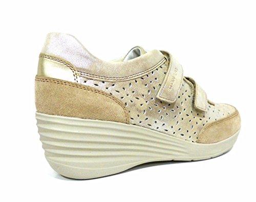 Stonefly Ebony 19 sneakers donna beige con velcro e zeppa