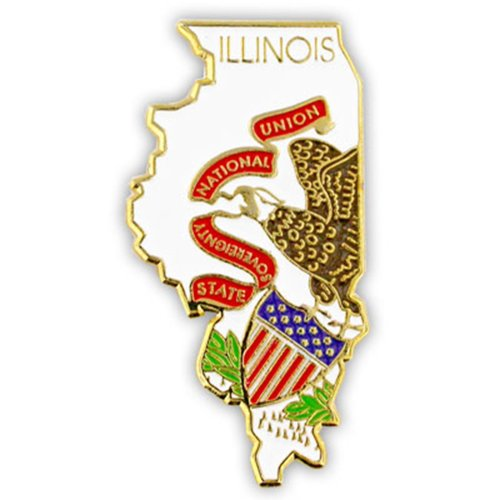 (PinMart State Shape of Illinois and Illinois Flag Lapel Pin)