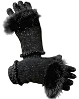 3 in 1 Women's Soft Knit Gloves with Genuine Fox Fur - One Size