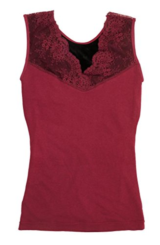 Women's Lace Thermal Vest Shaper Top (ML, Burgundy) (Thermal Lace Vest)