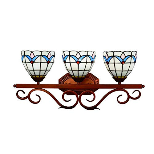 3-Light Tiffany Style Wall Lamp LED Sconces Stained Glass Mirror Front Lamp E27 for Corridor Gallery Passage Hallway Light Wall Lights