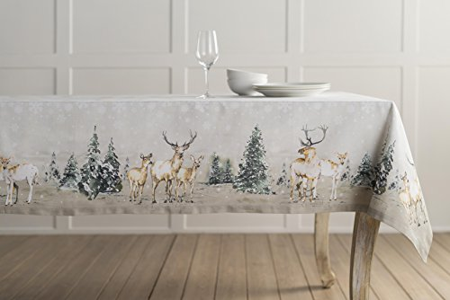 """Maison d' Hermine Deer in The Woods 100% Cotton Tablecloth for Kitchen Dinning Tabletop Decoration Parties Weddings Thanksgiving Christmas (Rectangle, 60 Inch by 108 Inch) - Designed in Europe 100% Cotton & Machine washable. Package Includes : 1 Tablecloth Our collections are featured in Elle Decor and House Beautiful for """"Best Thanksgiving Tablecloth"""". - tablecloths, kitchen-dining-room-table-linens, kitchen-dining-room - 41s8dk%2BefVL -"""