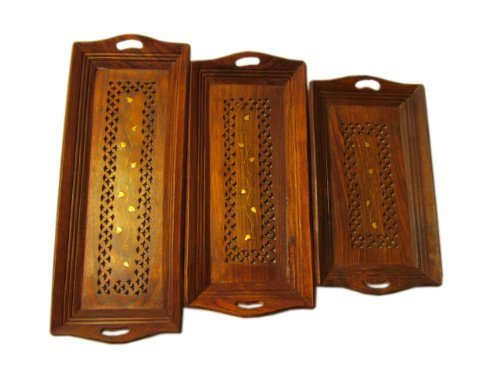 Set of 3 Wood Serving Tray With Handles - Decorative Serving Coffee Tray Platters for Parties | Restaurants | Ottomans