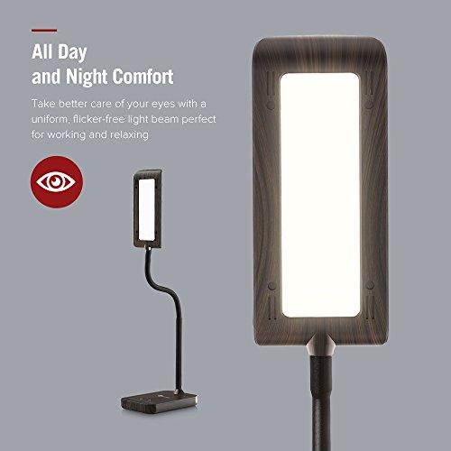 TaoTronics Desk Lamp, LED Table Light with 5 Lighting Modes & 7 Brightness Levels (Eye Caring, Flexible Gooseneck, Touch Controls, Memory Function) Wood Grain Design by TaoTronics (Image #2)