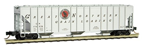 Evans 100-Ton 3-Bay Covered Hopper - Ready to Run -- Great Northern #172074 (aluminum, black, red Rocky Silhouette Logo)