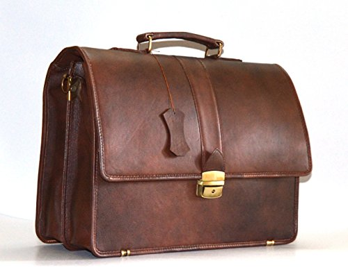 Italian Designer Brown Leather - World of Leather Men's Briefcase Messenger Bag Italian Leather Designer Cognac (Antique brown)