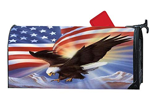 American Flag & U.S Eagle Mailbox Cover Magnetic Standard Size, Holiday Letter Post Box Cover Wrap Decoration Welcome Home Garden Outdoor 6.5