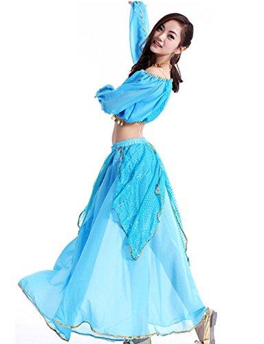 Astage Sexy À Paillettes De Danse Du Ventre En Tête Ciel Robe De Mousseline Bleu