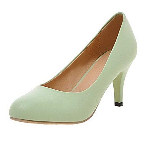 VogueZone009 Damen Ziehen auf Rund Zehe Mittler Absatz PU Rein Pumps Schuhe Grün