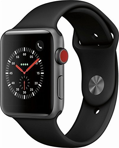 Apple Watch Series 3 (GPS + Cellular), 42mm Space Gray Aluminum Case with Black Sport Band – Grey