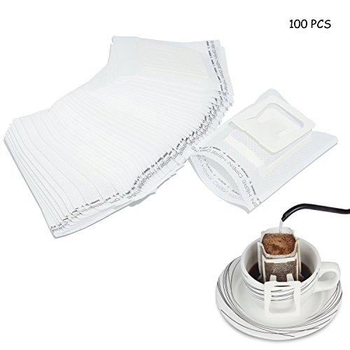 ABAO UNCLE Disposable Coffee Filter Bag 100Pcs - BESTCHANCEUS Hanging Ear Drip Coffee Filter Bag - Eco-Friendly Material Tea Strainer/Coffee Maker Portable For Travel/Home/Office/Camping by ABAO UNCLE