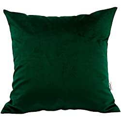 "TangDepot Solid Velvet Throw Pillow Cover/Euro Sham/Cushion Sham, Super Luxury Soft Pillow Cases, Many Color & Size options - (18""x18"", Dark Green)"
