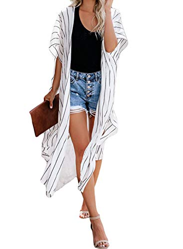 (Dokotoo Womens Autumn Female Striped Ladies Open Front Short Sleeve Fashion Long Kimonos Casual Long Cardigans Loose Shawl Kimonos Beach Swimsuit Cover Up Swimwear Outerwear One Size White)