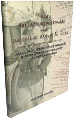 Die Verleihungsurkunden zum Deutschen Kreuz in Gold