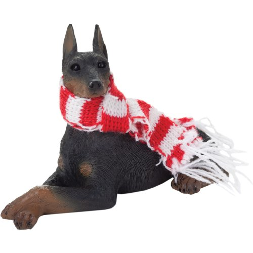 Sandicast Black Doberman Pinscher with Red and White Scarf Christmas Ornament ()
