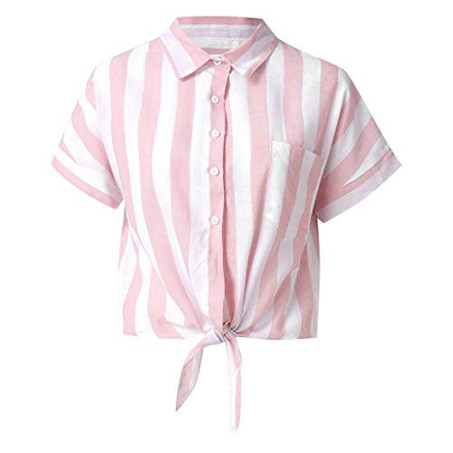 Womens Striped Button Up Knot Front Shirt Summer Turndown Collar Short Sleeve Blouses Henley Tops Loose Blouses Pink