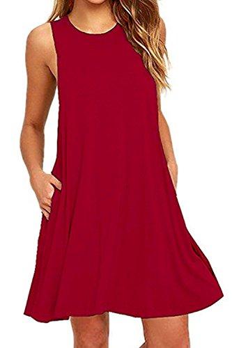 Nimpansa Mujeres Swing Casual Loose Scoop Cuello Túnica Vestido Corto con Bolsillos Red