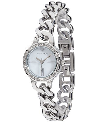 Yves Camani Burgaudine Women's Wrist Watch Quartz Analog Stainless Steel Silver White Dial Mother Of Pearl