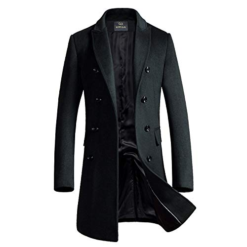 lend Double Breasted Long Pea Coat (Grey, Medium) (Men Winter Coats)