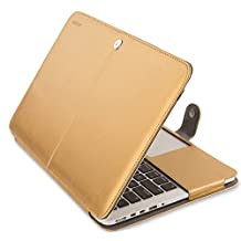 Mosiso PU Leather Book Cover Folio Case with Stand Function for MacBook Pro 13 Inch with Retina Display (A1502/A1425), Gold