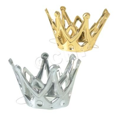 Dozen Miniature Gold and Silver Party Crowns with Elastic Chin Strap