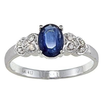 Weißgold ring mit saphir  10k Weißgold Echter Blauer Saphir und Diamant Ring (1/10 cts ...