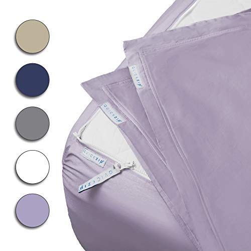 """QuickZip Fitted Sheet - Includes 1 Fitted Sheet Base & 2 Zip-On Sheets - Easy to Change, Fold & Wash Twin Sheet - Percale 200 TC Cotton Fitted Sheets - 10.5"""" Deep Pockets Twin Size Sheets - Lavender"""