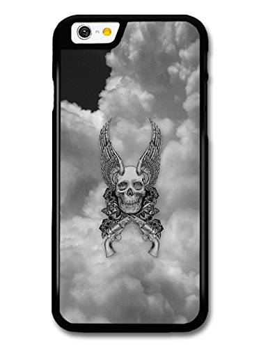 Cool Skull With Wings And Guns In The Sky Black And White Design case for iPhone 6 6S