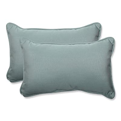 Pillow Perfect Indoor/Outdoor Rectangular Throw Pillow Sunbrella Canvas Spa Fabric, Set of 2, Blue - Includes two (2) outdoor pillows, resists weather and fading in sunlight; Suitable for indoor and outdoor use Plush Fill - 100-percent polyester fiber filling Edges of outdoor pillows are trimmed with matching fabric and cord to sit perfectly on your outdoor patio furniture - living-room-soft-furnishings, living-room, decorative-pillows - 41s8hUrCc7L. SS400  -