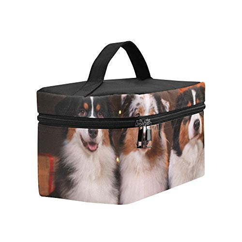 Dog Breed Australian Shepherd Aussie Happy Lunch Box Tote Bag Lunch Holder Insulated Lunch Cooler Bag For Women/men/picnic/boating/beach/fishing/school/work