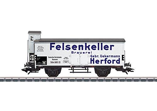 - 2-Axle Beer Reefer w/Brakeman Cab - 3-Rail Ready to Run -- Felsenkeller Brauerei (Era II, white, blue, gray)