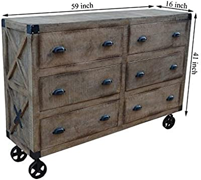 Modern Farmhouse Wheelable Chest of Drawers