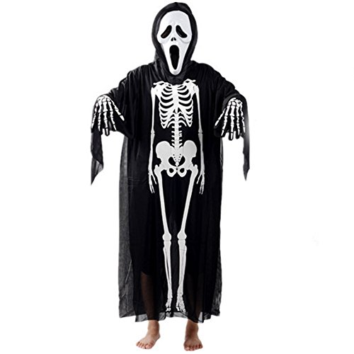 [LETSQK Adult Zombie Soul Taker Devil Phantom Skeleton Ghost Party Halloween Costume G] (Custom Phantom Of The Opera Costumes)