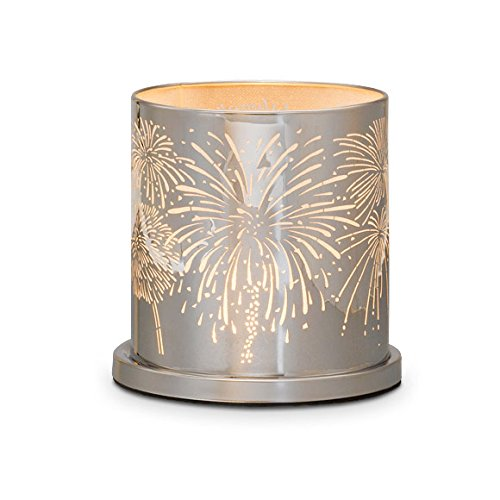 PartyLite Enchanted Celebration Candle Holder With Fireworks Etched Display (Lightweight Non-Metal Hurricane)