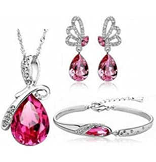 Rojo Mujers Pendientes,Xinan Big Diamond Colgante Pendientes Largos Rose P/úrpura Rojo