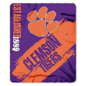 (NCAA Officially Licensed Clemson Tigers Paint Stripe Fleece Throw Blanket)