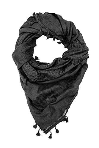 Premium Tactical Shemagh, 100% Cotton 47'x47' Arab Scarf Shemagh Keffiyeh (Tactical Black)