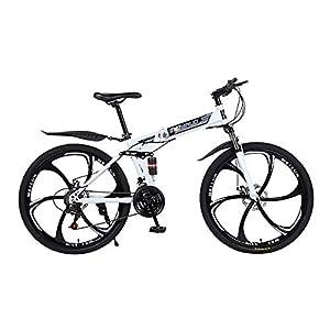 """41s8iHX97KL. SS300 JXH 26"""" 21-velocità Mountain Bike per Adulti, Alluminio Leggero Sospensione Totale Frame, Forcella della Sospensione, Freni a Disco,Bianca"""