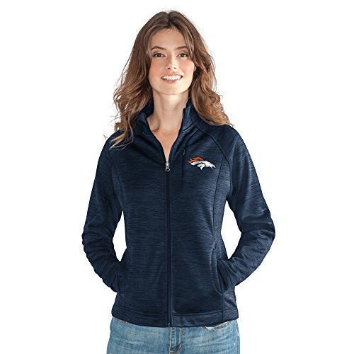 Licensed Jacket Full Zip (GIII For Her NFL Denver Broncos Women's Hand Off Full Zip Jacket, Large, Navy)