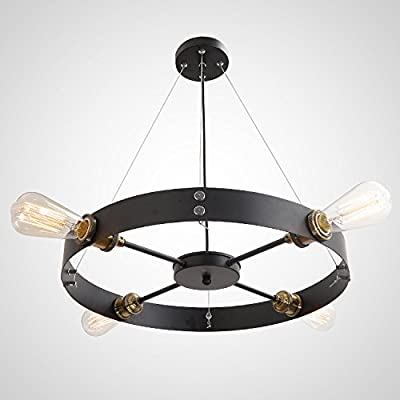 UNITARY BRAND Black Round Vintage Barn Metal Hanging Ceiling Pendant Light Max. 160W With 4 Lights Painted Finish