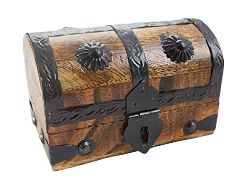 Kids Treasure Chest Wood Keepsake Jewelry Box Toy Treasure Box 5.5x3x3.25 By Well Pack Box (Small)