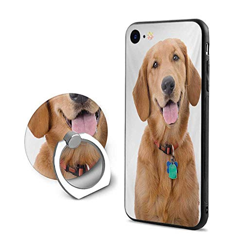 Golden Retriever iPhone 7/iPhone 8 Cases,Portrait of Young Pedigreed Dog Wearing a Collar and Tags Domestic Animal Multicolor,Design Mobile Phone Shell Ring Bracket - Potter Portrait