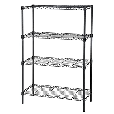 Finnhomy Heavy-duty Steel Wire Shelving Unit with Stable Leveling Feet, 4 Shelves, Black