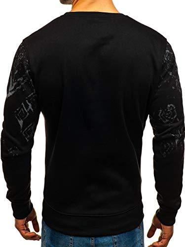 dd389 Sans Sweatshirt Imprimé U Noir Style Bolf Sportif Longues Pull neck Manches Capuche Homme 1a1 naSP6