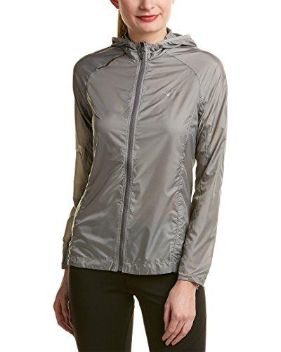 Mizuno Running Women's Katara 2.0 Hoody Jacket, Large, Light Grey/Trade - 2.0 Wind Jacket