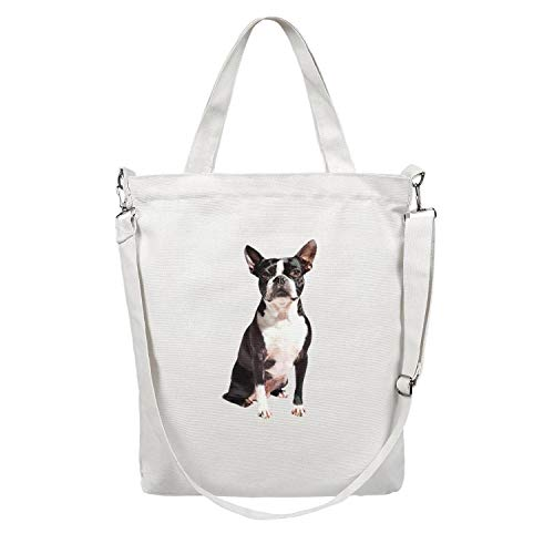 (Women 12.5X15 Inches Cute Zip Crossbody Canvas Large Tote Bag Boston Terrier Beach Work Gym Book Lunch School Shopping Shoulder Handbag Washable and Eco-Friendly )